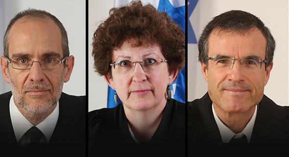 הרכב השופטים במשפט נתניהו. מימין:  משה בר-עם רבקה פרידמן-פלדמן ועודד שחם, צילום מסך