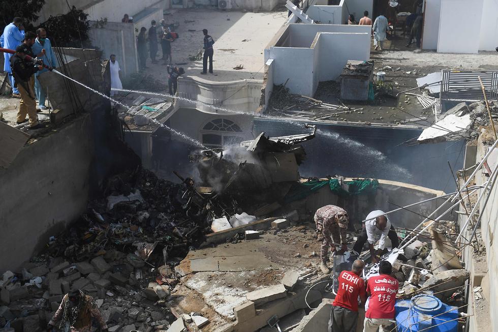 זירת ההתרסקות, צילום: AFP