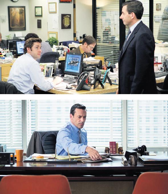 למעלה: מתוך הסדרה המשרד למטה: מתוך מד מן, צילומים: שאטרסטוק, Hooked On The Past David Romero/Flickr