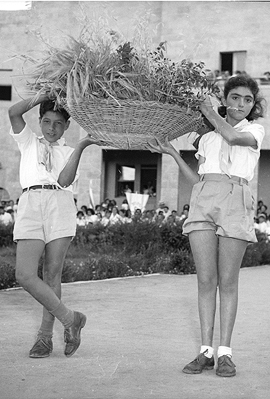 ילדי בית ספר בירושלים חוגגים שבועות. צילום של דוד רובינגר, 1954, צילום: דוד רובינגר