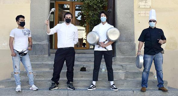 פיזה איטליה הפגנה של בעלי מסעדות בדרישה לפתיחת העסקים 25.5.20, צילום: אם סי טי