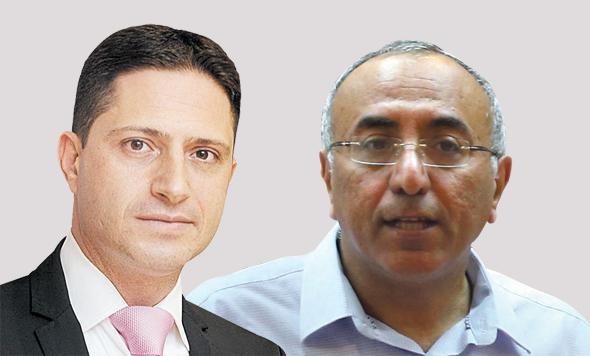 מימין: אבירם דהרי, ראש עיריית קריית גת, ורוביק דנילוביץ', ראש עיריית באר שבע. קרב טריטוריאלי
