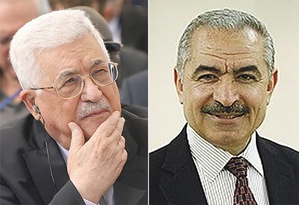 """מימין: מוחמד אשתייה רה""""מ הפלסטיני ואבו מאזן יו""""ר הרשות. איומים ומציאות לחוד"""