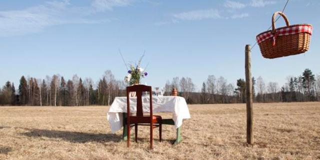 מסעדה לימי הקורונה בשבדיה: שולחן עם כיסא בודד באמצע שדה