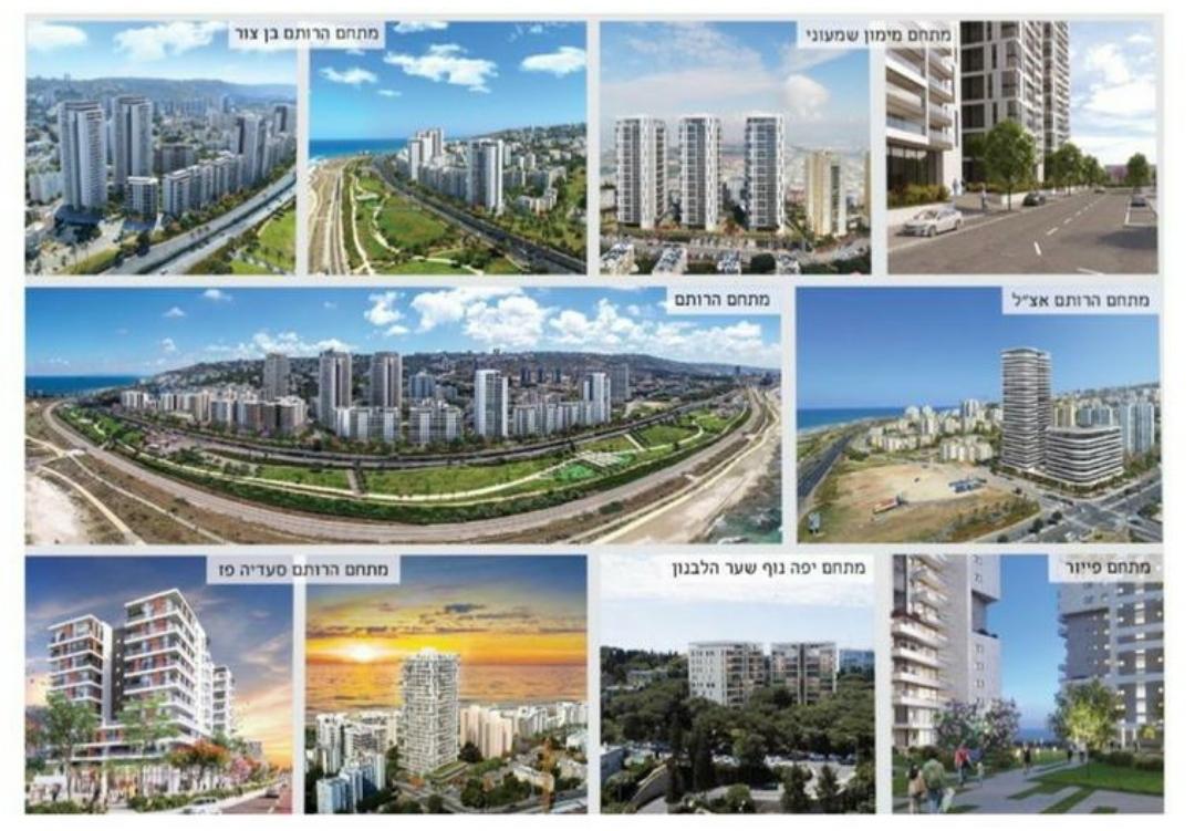 פרויקטים של נקסט אורבן בחיפה. למעלה מ-8,500 יחידות דיור ב-14 מתחמים