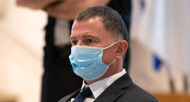 שר הבריאות יולי אדלשטיין עם מסכה, צילום: אוהד צויגנברג