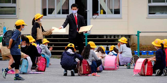 """בי""""ס בטוקיו בקורונה, צילום: איי אף פי"""