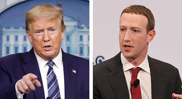 """מימין מרק צוקרברג מנכ""""ל מייסד פייסבוק ונשיא ארה""""ב דונלד טראמפ, צילום: רויטרס, בלומברג"""