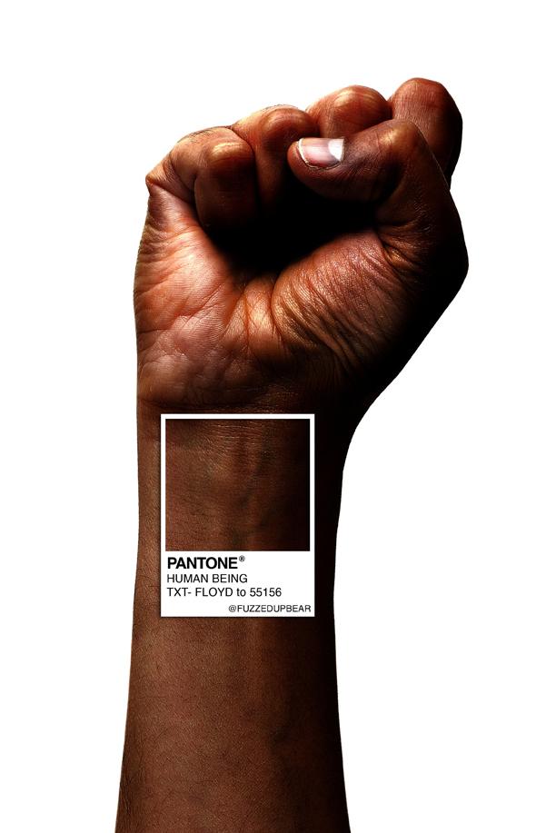 המעצב קלביס פולנקו יצר עיבוד למניפת הצבעים המוכרת של פאנטון: יד שחורה מונפת ועליה גוון הקרוי על