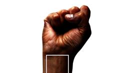 המעצב קלביס פולנקו יצר עיבוד למניפת הצבעים המוכרת של פאנטון כרזה נגד אלימות נגד שחורים, צילום: instagram: @fuzzedupbear