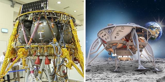 חללית בראשית - מימין בעיצוב של אלכס פדואה, משמאל התוצאה הסופית, צילום: spaceIL, דור מנואל