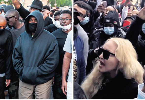מימין מדונה בהפגנה בלונדון וקניה ווסט בהפגנה בשיקגו. מבטיחים לא לתת לאלימות המשטרה להיעלם מסדר היום, צילומים: רויטרס