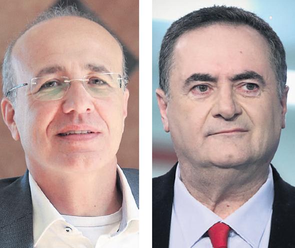 """שר האוצר ישראל כץ (מימין) ויו""""ר רשות שוק ההון משה ברקת. תחרות בשוק הביטוח"""
