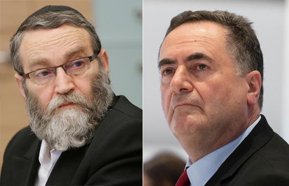 מימין ישראל כץ ו משה גפני , צילום: אוהד צויגנברג, אלכס קולומויסקי