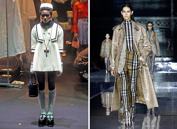 תצוגות האופנה מימין ברברי וגוצ'י