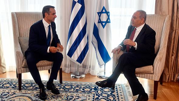 בנימין נתניהו וראש ממשלת יוון קיריאקוס מיצוטקיס