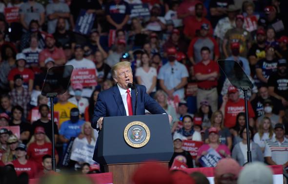דונלד טראמפ אתמול בטולסה אוקלהומה