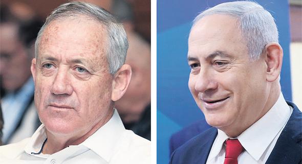 מימין ראש הממשלה בנימין נתניהו ושר הביטחון בני גנץ