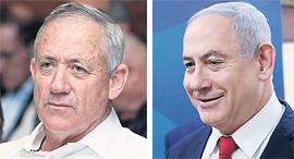מימין ראש הממשלה בנימין נתניהו ושר הביטחון בני גנץ, צילומים: אלכס קולומויסקי, אוראל כהן
