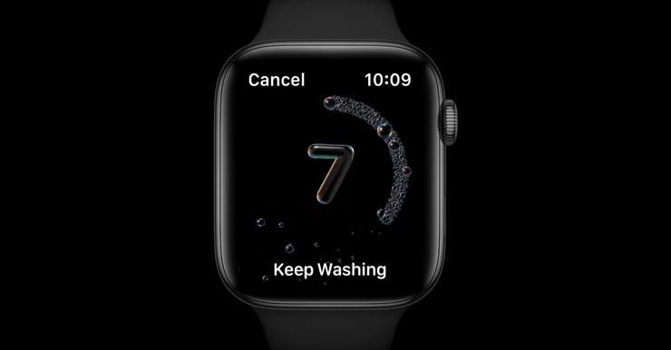 יישומון לשטיפת ידיים באפל ווטש, צילום מסך: מתוך WWDC 2020