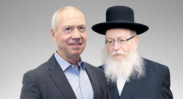 מימין יעקב ליצמן ו יואב גלנט שר הבינוי והשיכון הנכנס והיוצא, צילומים: שאול גולן, נמרוד גליקמן