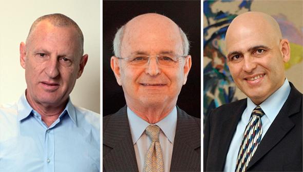 """מימין: דוד פתאל, מיקי פדרמן בעל השליטה במלונות דן וליאור רביב מנכ""""ל ישרוטל"""