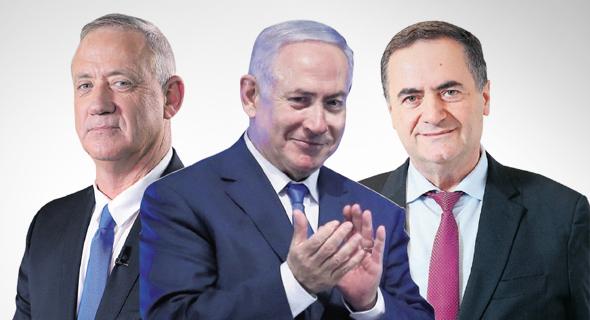 מימין: שר האוצר ישראל כץ ראש הממשלה בנימין נתניהו ושר הביטחון בני גנץ, צילומים: דנה קופל, אלכס קולומויסקי' עמית שעל