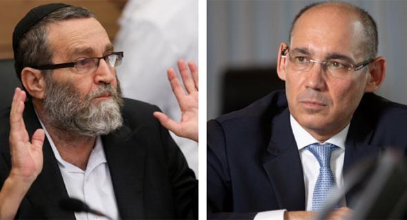 מימין פרופסור אמיר ירון  ו משה גפני, צילום: אלכס קולומויסקי