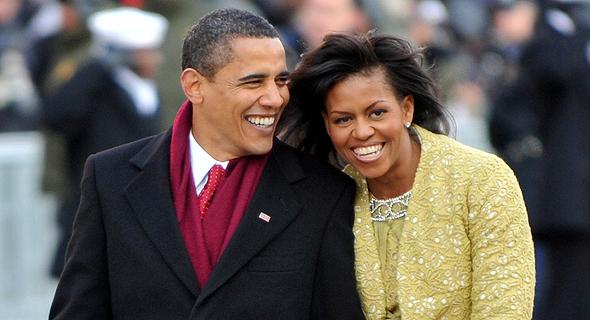 מישל אובמה ו ברק אובמה בטקס ההשבעה שלו לנשיאות ב 2009 פנאי, צילום: גטי אימג'ס