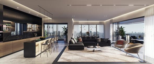 """פנטהאוז בפרויקט """"אלקטרה בשכונת הקאנטרי"""". מרפסות ענק וחלונות מסך גדולים כמו בחו""""ל, הדמיה: 3dvision"""