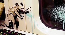 ציור של בנקסי על הרכבת התחתית, צילום: Instagram/Banksy
