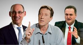 מימין ישראל כץ אבי שמחון ו אמיר ירון, צילום: שלו שלום גיא אסיאג אלכס קולומויסקי