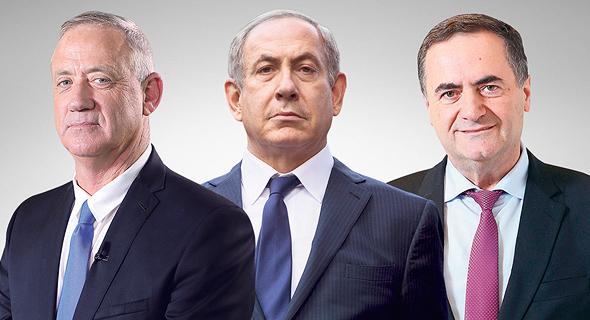 שר האוצר ישראל כץ, ראש הממשלה בנימין נתניהו ושר הביטחון בני גנץ, צילומים: דנה קופל, אוליבייה פיטוסי, עמית שעל
