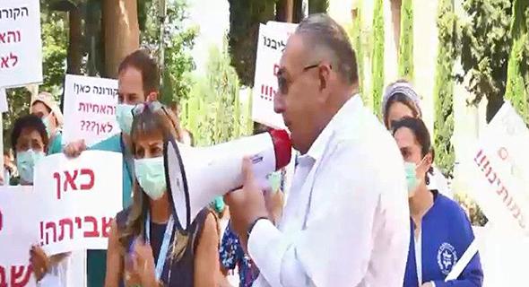 """זאב רוטשטיין מנכ""""ל הדסה הפגנה שביתה של ה אחיות האחיות ב בית החולים הדסה עין כרם, צילום: משה מזרחי"""