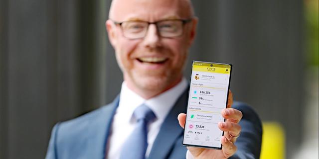 שר הבריאות אירלנד סטיבן דונלי. אפליקציית Covid Tracker לאיתור חולי קורונה, צילום: רויטרס