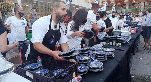 מחאת המסעדנים בירושלים מול מעון ראש הממשלה, צילום: חיים גולדיטש