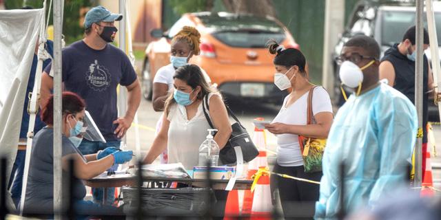 בדיקת קורונה במיאמי פלורידה, צילום: אי פי איי