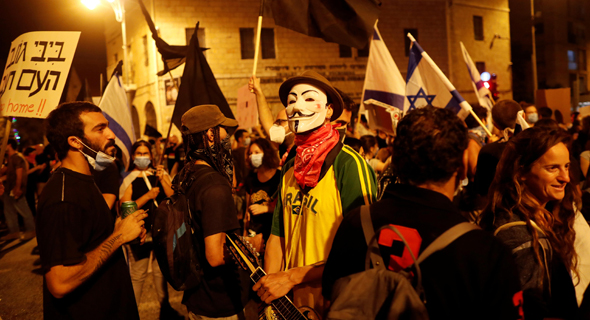 An anti-Netanyahu rally outside the Prime Minister's Residence in Jerusalem. Photo: Reuters