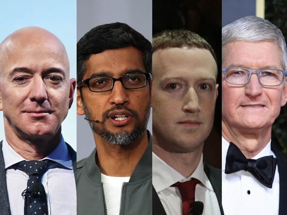 """מימין: טים קוק, מנכ""""ל אפל, מארק צוקרברג, מנכ""""ל פייסבוק, סונדאר פיצ'אי, מנכ""""ל גוגל וג'ף בזוס, מנכ""""ל אמזון"""