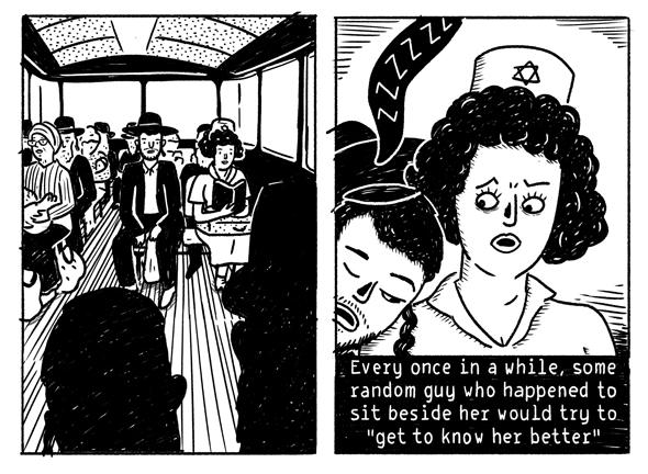 """מתוך הקומיקס של הילה נועם שמופיע בקובץ. """"הטרדה מינית היא דבר שחוצה מגדרים"""""""