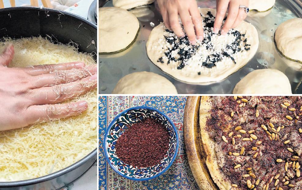 """מנות מספרה החדש של רים קסיס, משמאל ובכיוון השעון: כנאפה, אקרס זעתר ומוסכאן. """"אני גאה לראות פלסטינים שמשתפים את הנרטיב שלנו באמצעות אוכל"""""""