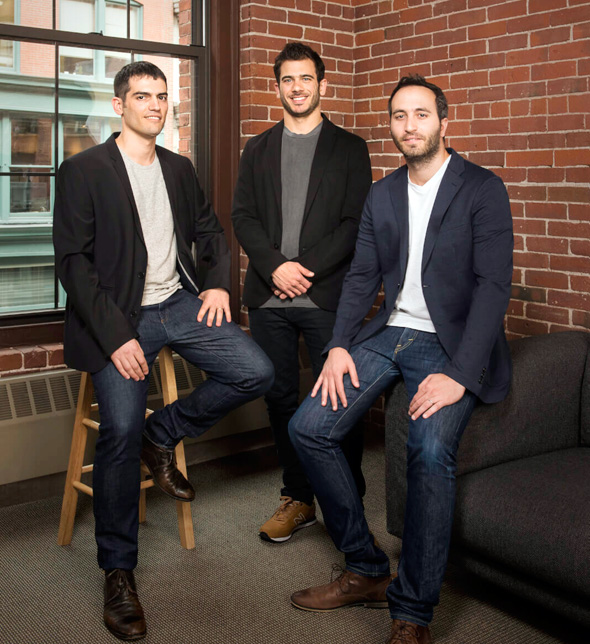 ClimaCell founders (from right) Shimon Elkabetz, Rei Gofer and Itai Zlotnik. Photo: Courtesy