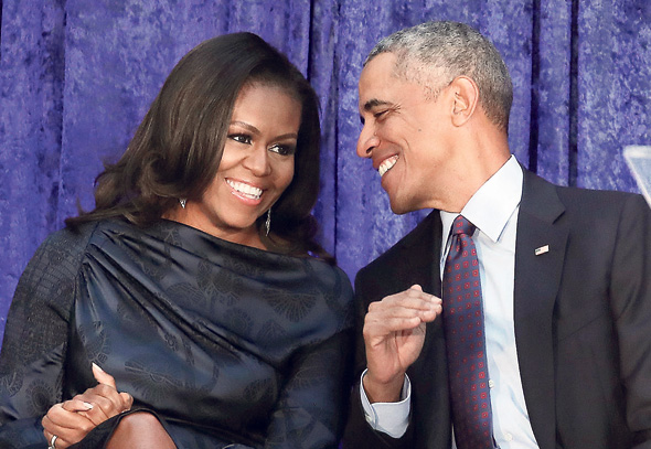 פנאי ברק אובמה ואשתו מישל אובמה, צילום: גטי אימג'ס