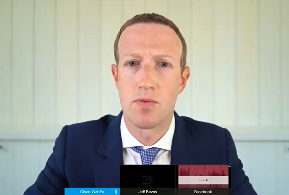 Facebook CEO Mark Zuckerberg speaks via video conferencing before a hearing of the U.S. Congress. Photo: Youtube livestream
