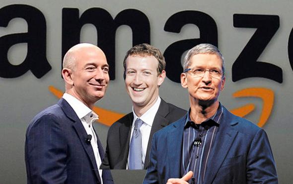 מימין מארק צוקרברג טים קוק ו ג'ף בזוס על רקע אמזון, צילומים: איי פי, בלומברג , רויטרס