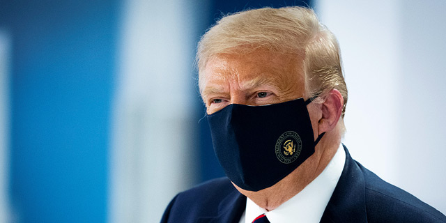 דונלד טראמפ עם מסכה, צילום: רויטרס