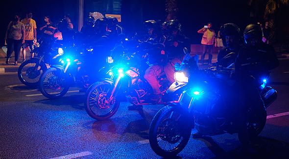 אופנועי משטרת ישראל בהפגנה בגן צ