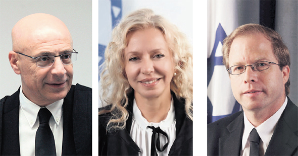 """שלושת המועמדים לנשיאות המחוזי ת""""א, מימין: גלעד נויטל, איריס לושי־עבודי וירון לוי. ועדת האיתור רשאית להגיע למסקנה שאף אחד מהם אינו מתאים, צילום: עמית שעל"""