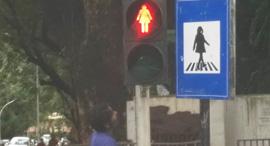 רמזור נשי במומבאי, צילום: AUThackeray/Twitter Photo
