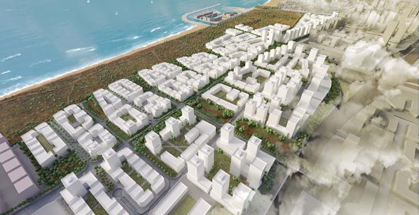 הדמיית תוכנית חוף התכלת. לעירייה אין תמריץ לקדם את הבנייה